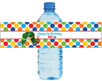 Caterpillar Theme Water Bottle Labels Celebrations Birthday Party, Kids party, polka dots