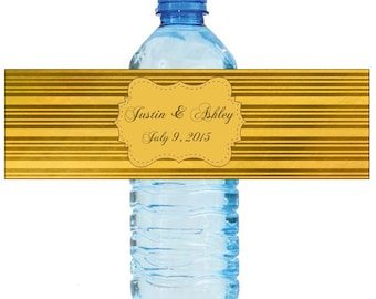 Gold Stripes Wedding Anniversary Water Bottle Labels Customizeable labels 2 sizes available