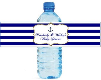 Navy Blue, White & Gold frame with nautical anchor Wedding Water Bottle Labels Great for Engagement Bridal Shower Party