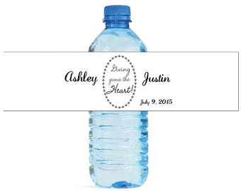 Giving Grows the Heart quote Wedding Anniversary Engagment Water Bottle Labels Customizeable Names and Date self stick