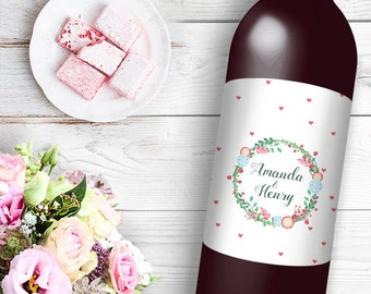 Floral Wreath Over Hearts Wine / Beer Bottle Labels Great for Engagement Bridal Shower Party self stick easy to use labels