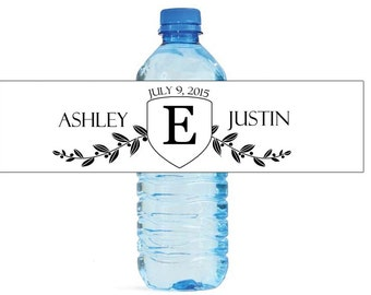 White Crest Monogram Wedding Water Bottle Labels Great for Engagement Bridal Shower Party