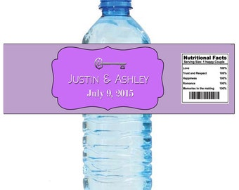 Lavender Vintage Wedding Anniversary Water Bottle Labels Great for Engagement Bridal Shower Birthday Party 2 sizes available