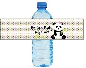 Panda Party Kids Birthday party Water Bottle Labels great for all typoes of Celebrations baby shower get together housewarming