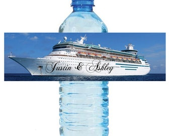 Cruise Ship Style Wedding Anniversary Bridal Shower Water Bottle Labels Great for Engagement Party Destination 2 sizes available