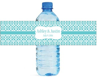 Teal Moroccan Trellis pattern Wedding Anniversary Water Bottle Labels Customizable labels 2 sizes available