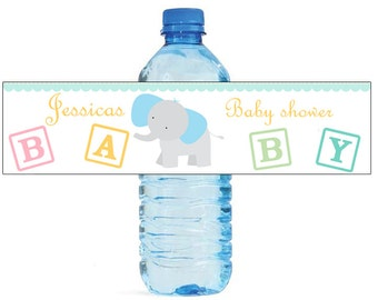 Baby Boy Elephant Baby Shower Theme Water Bottle Labels Perfect for your Celebration and events with an animal circus theme