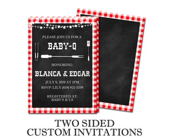 Baby-Q Themed Two Sided Customized Printed Baby Shower Invitaions Gingham BBQ Cookout