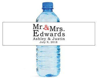 Mr & Mrs Simple Wedding Water Bottle Labels Great for Engagement Bridal Shower Anniversary Party self stick