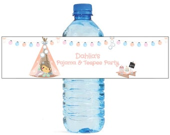 Pajamas and Teepees Theme Kids Birthday Water Bottle Labels Great for all sorts of parties and get togethers easy to use self stick labels