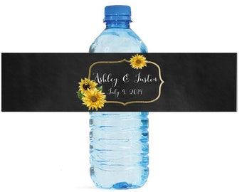 Sunflower Frame on Chalkboard Wedding Water Bottle Labels Great for Engagement Bridal Shower Birthday Party Anniversary