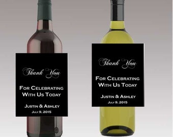 Black Thank You For Celebrating With Us Wine or Beer Bottle Labels Great for Engagement Bridal Shower Party