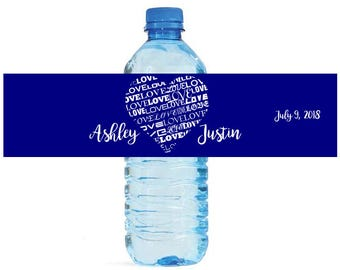 Heart full of love on Navy Wedding Water Bottle Labels Great for Bachelorette Engagement Bridal Shower Party