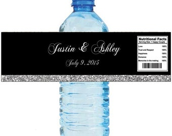 Black and Silver Glitter  Wedding Anniversary Water Bottle Labels Customizeable labels 2 sizes available