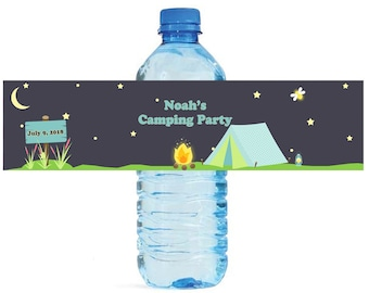 Camping Theme Custom Water Bottle Labels Great for Birthdays, get togethers, backyard camping, Beach camping, Kids Party