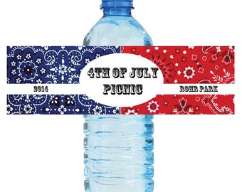 "4th of July Independance Day Bash Water Bottle Labels Great for Party Get together 7""x2"" Red Blue  Bandana"