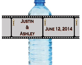 "Movie Theme Style Wedding Anniversary Shower Water Bottle Labels Great for Engagement Party 8""x2"" Birthday Celebrations School Play"