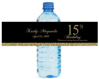 Quinceanera Sweet 15 Birthday Black & Gold Water Bottle Labels easy to apply and use