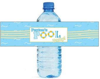 Pool party Theme Water Bottle Labels Great for all sorts of parties and get togethers, birthdays, graduation  easy to use self stick labels