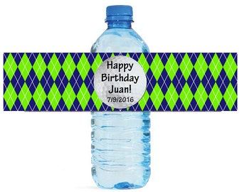 Green and Blue Argyle Golf Pattern Water Bottle Labels Great for Birthday Party get together, golf lovers, outdoor parties, tee time