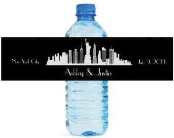New York City Destination Wedding Water Bottle Labels Great for Engagement Bridal Shower Party Birthday anniversaries
