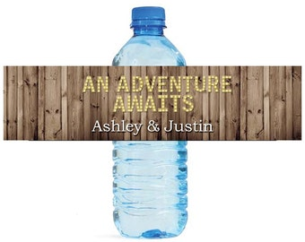 Rustic Wood Marquee Letters An Adventure Awaits Wedding Anniversary Engagment Party Water Bottle Labels Customizeable self stick labels