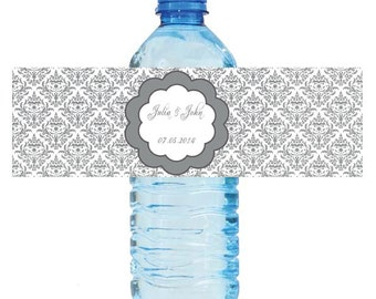 100 Silver Damask Wedding Anniversary Water Bottle Labels Great for Engagement Bridal Shower Party 2 sizes available