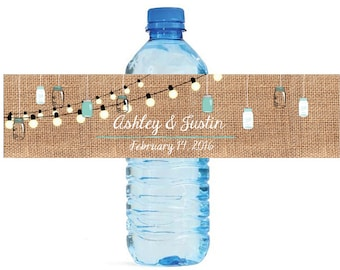 Burlap and hanging Mason Jars with Market lights Wedding Anniversary Water Bottle Labels Customizeable labels self stick, easy to use