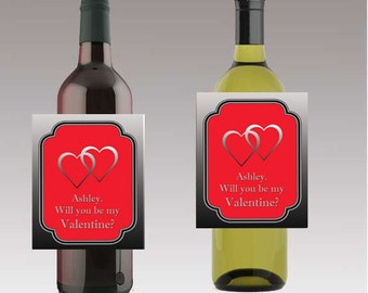 Will you be my Valentine Beer or Wine Bottle Labels Valentine Day Customizeable