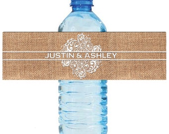 Burlap and Lace Wedding Water Bottle Labels Great for Engagement Bridal Shower Party 2 sizes available
