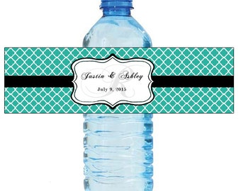 Teal Monogram Water Bottle Labels Great for Engagement Bridal Shower Wedding anniversary birthday Party