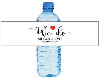 We Do Heart label on White background Wedding Water Bottle Labels Great for Engagement Bridal Shower Anniversary Party self stick