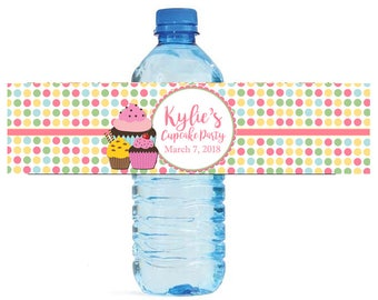 Cupcake Party Theme Water Bottle Labels Great for Birthday parties, celebrations, sleep overs, graduation easy to use self stick labels