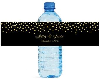 Gold Confetti falling on black background Wedding Anniversary Water Bottle Labels Customizable labels self stick, easy to use