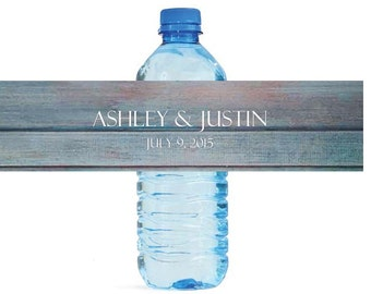 Distressed Rustic wood Wedding Water Bottle Labels Great for Engagement Bridal Shower Party