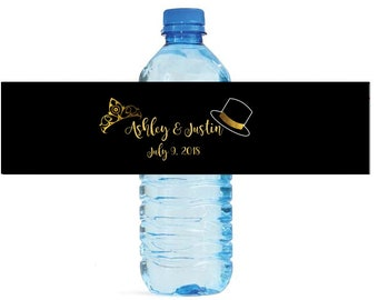 Top Hats and Tiaras Custom Water Bottle Labels Great for Weddings, Anniversay Birthdays, get togethers Engagement Bridal Shower Party