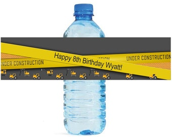 Construction zone Theme Water Bottle Labels Celebrations Birthday Party, Kids party, construction party