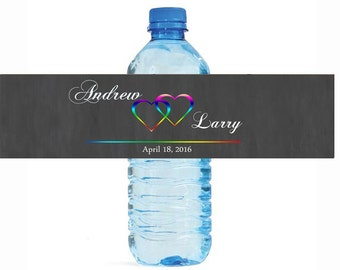 Modern Rainbow Hearts Wedding Anniversary Engagment Party Water Bottle Labels Customizeable self stick gay lesbian pride equal