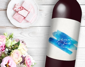 Water color brush Wine / Beer Bottle Labels Great for Engagement Bridal Shower Party self stick easy to use labels