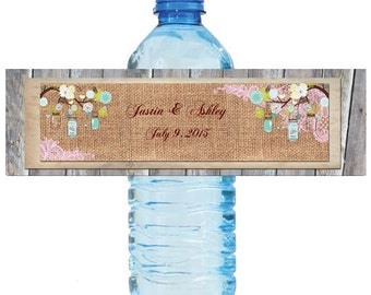 Burlap Pink Lace Rustic Wood & Mason Jar Wedding Anniversary Water Bottle Labels Customizeable labels 2 sizes available
