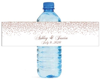 Rose Gold Confetti falling on white background Wedding Anniversary Water Bottle Labels Customizable labels self stick, easy to use