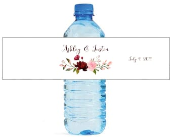 Blush & Burgandy Arrangement with White Background Wedding Water Bottle Labels Great for Engagement Bridal Shower Party