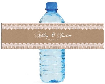 Kraft and Lace Wedding Water Bottle Labels Great for Weddings, Engagement Bridal Shower, Birthday Party, and all other special events