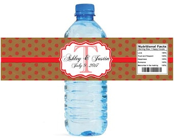 Kraft paper and red glitter dots Monogram Wedding Water Bottle Labels Great for Engagement Bridal Shower Anniversary Party self stick
