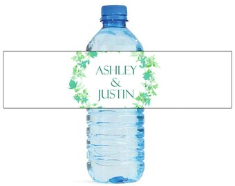 Green Floral Wreath white background Wedding Water Bottle Labels Great for Engagement Bridal Shower Birthday Party