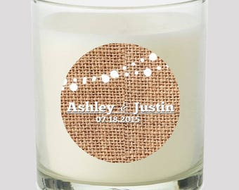 """Burlap & White Market Lights 2"""" Party labels personalize events Weddings Bridal Shower Candles Cupcake toppers Mason Jar decals Stickers"""