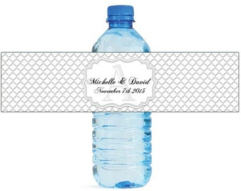 Silver Quatrefoil Moroccan Wedding Water Bottle Labels Great for Engagement Bridal Shower Party Birthday party or any other special occasion