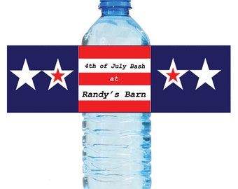 """100 4th of July Independance Day Bash Water Bottle Labels Great for Party Get together 7""""x2"""""""