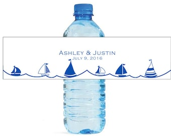 Blue Sail away sailboat nautical theme Wedding Water Bottle Labels Great for Engagement, Bridal Shower birthday, party, get togethers