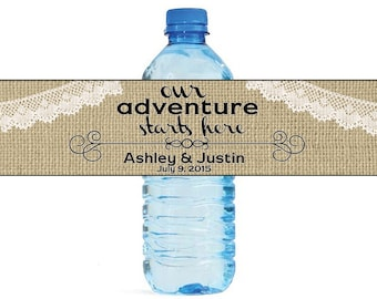 Burlap Our Adventure Starts Here Wedding Water Bottle Labels Great for Engagement Bridal Shower Party Self Stick Labels